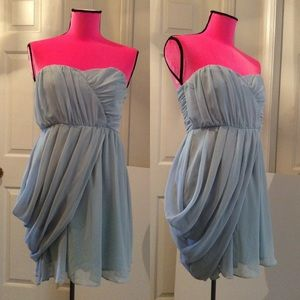 ASOS blue strapless draping dress